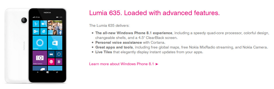 T-Mobile will be offering the Nokia Lumia 635 - Nokia Lumia 635 coming to T-Mobile, MetroPCS and AT&T