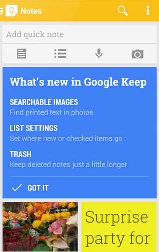 Google Keep receives new features with today's update