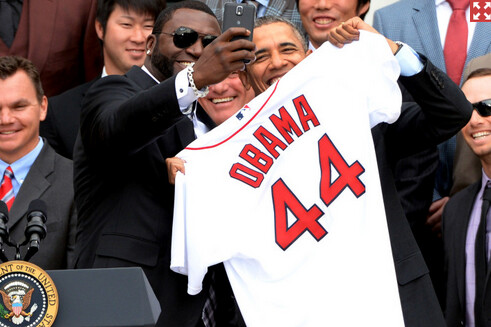 David Ortiz and President Obama smile for the Samsung Galaxy Note 3...