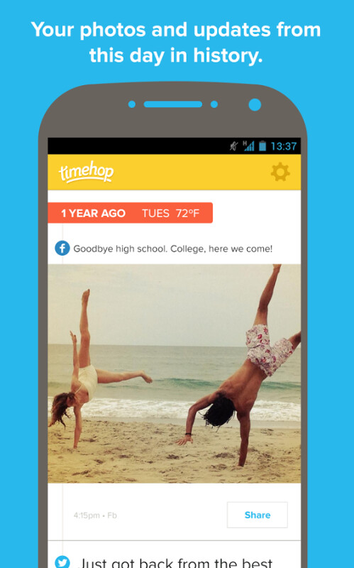 Timehop for Android replays your daily past in Facebook, Twitter or Instagram feeds