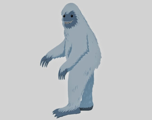 Two-dimensional drawing of a Yeti...