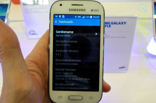 The entry-level Samsung Galaxy Ace Style shown in Germany, runs Android 4.4 KitKat