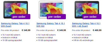 Samsung's new Galaxy Tab 4 slates priced from €199 in Europe