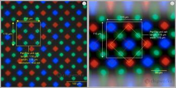 Diamond PenTile matrix on Galaxy S5 (left) vs Galaxy S4 (right)