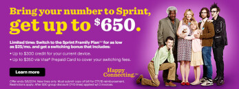 Sprint will reimburse you as much as $650 for switching from another carrier