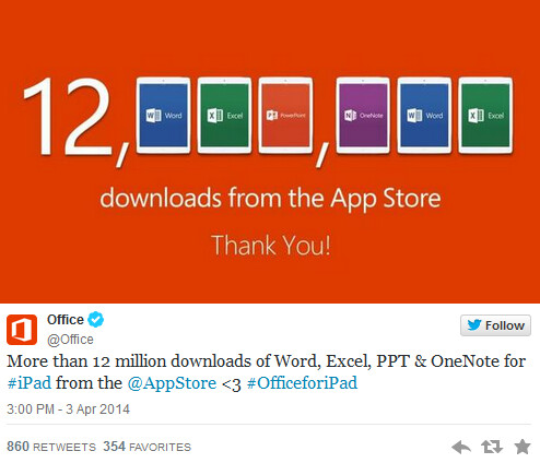 Microsoft says thank you to Apple iPad owners who have downloaded the Microsoft Office suite - Microsoft's Office suite has been downloaded to 12 million Apple iPad users