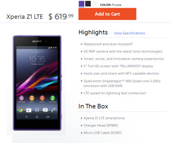 The Sony Xperia Z1 is now available unlocked in the states, supporting some U.S. LTE bands