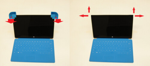 """Ears"" is a low-tech solution to the low volume on the Microsoft Surface"