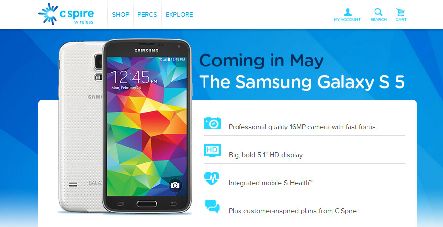 C Spire will release the Samsung Galaxy S5 in May - C Spire to release the Samsung Galaxy S5 next month