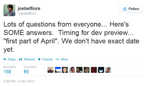 Windows Phone 8.1 Developer Preview is coming in the first part of April, tweets Joe Belfiore