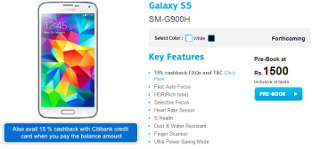 Samsung offers 15  cashback to select Galaxy S5 buyers in India
