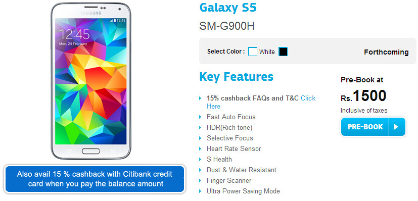 Samsung offers 15% cashback to select Galaxy S5 buyers in India