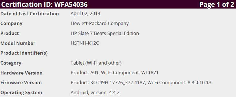 HP Slate 7 Beats Special Edition with Android 4.4 KitKat coming soon?