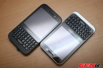 The canceled BlackBerry Kopi (L) and the Blackberry Q5