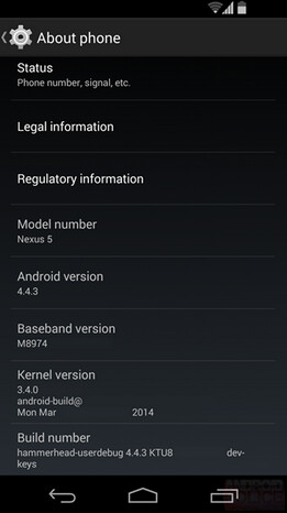 Screenshot from a Nexus 5 running Android 4.4.3 - Report: Google dogfooding Android 4.4.3; next KitKat build just weeks away from public consumption?
