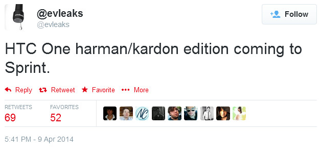 Tweet from evleaks outs Special Edition HTC One (M8) for Sprint - Special Harman Kardon edition of the HTC One (M8) coming to Sprint