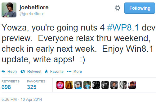 Joe Belfiore: Windows Phone 8.1 developer preview is coming next week