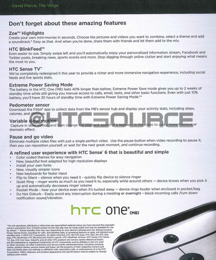 HTC One (M8) training manual for sales reps leaks
