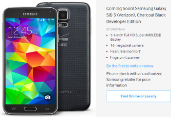 Samsung Galaxy S5 Developer Edition to be launched by Verizon