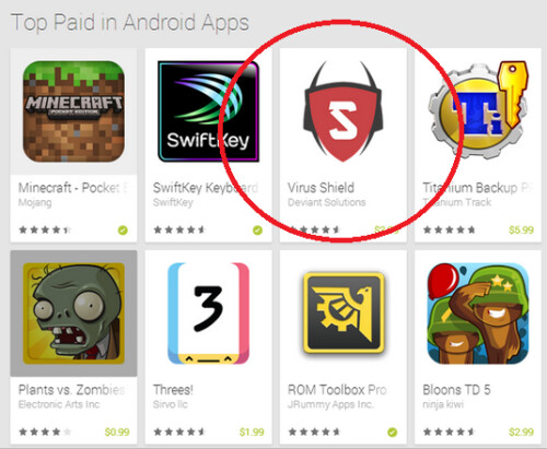 Virus Shield became the third most popular paid app in the Google Play Store