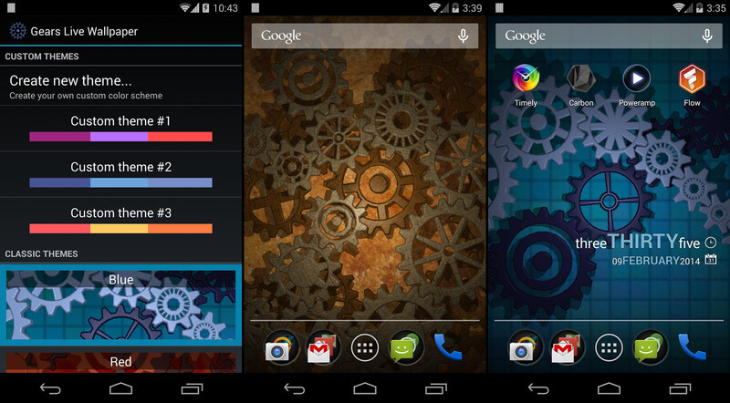10 Live Wallpapers For Android Gears 3D