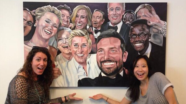 "Ellen's selfie hangs as a painting in Twitter HQ - Painting of the famous ""Ellen selfie"" now hangs on the wall at Twitter"