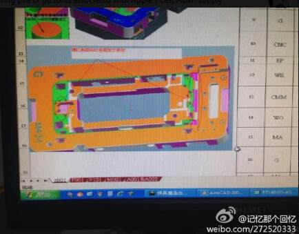 Images of schematics, CAD computer screen and mold, allegedly show design of the Apple iPhone 6