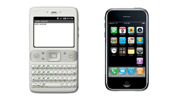 On the left, a render of an Android phone from Google's initial SDK - Did you know that before the iPhone was announced Android did not support touchscreen input?
