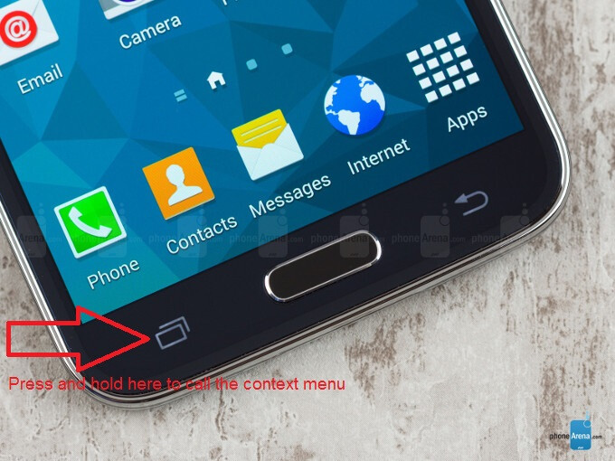How to call the hidden context menu button on the Galaxy S5