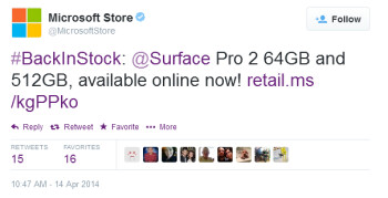 Two Microsoft Surface Pro 2 tablets are back in stock at the online Microsoft Store