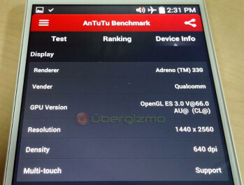 AnTuTu benchmark claimed running on an LG G3
