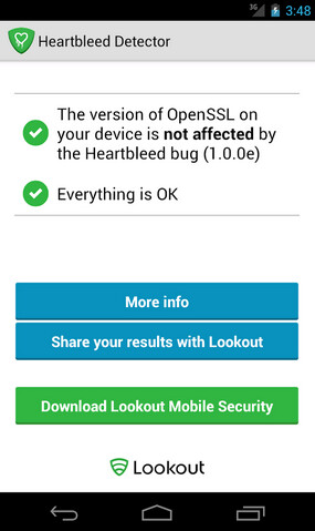 Screenshots show the three possible results from using Heartbleed Detector on your Android phone