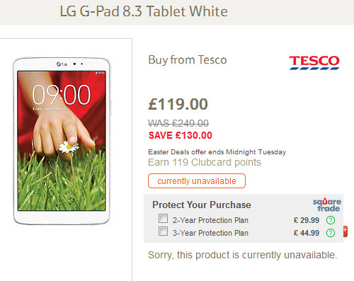 The LG G Pad 8.3 has been sliced in price by more than half at U.K. supermarket Tesco - U.K. supermarket offers the LG G Pad 8.3 online, with a larger than 50% price cut for Easter