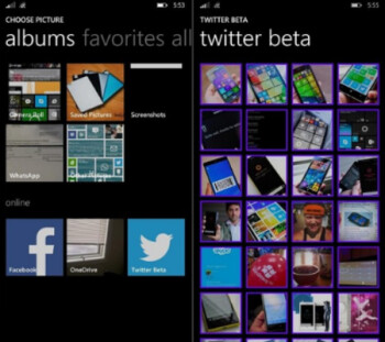 Screenshots from the Twitter open beta for Windows Phone 8.1