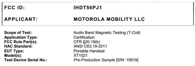 Motorola XT-1021