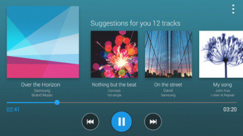 While using the stock music app in landscape mode, tilt the phone to receive a list of tunes similar to the one you are listening to
