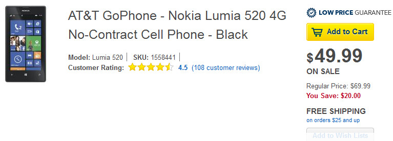 Buy the Nokia Lumia 520 from Best Buy for $49.99 on Sunday only - Pick up the Nokia Lumia 520 from Best Buy for $49.99; deal is good for today only