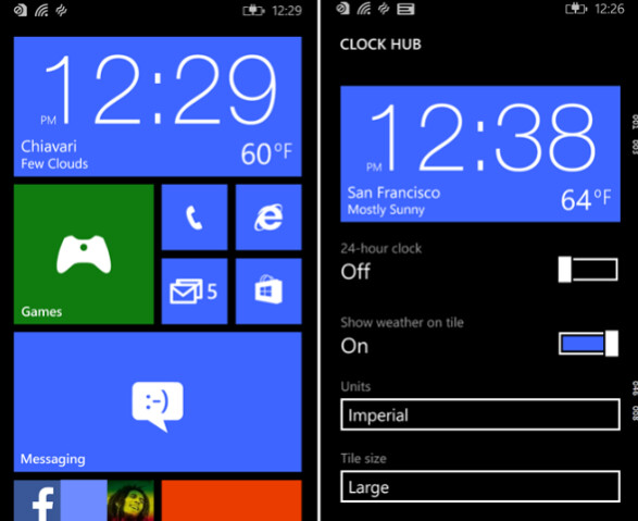 Pin Clock Hub to a Live Tile on your Windows Phone 8.1 powered handset - Check the weather using Clock Hub on Windows Phone 8.1