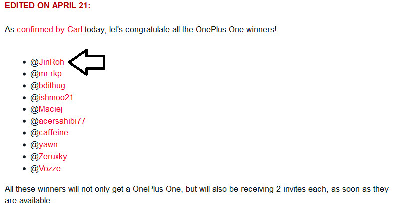 """Alvaro, aka JinRoh, gets his free OnePlus One back along with two invites - OnePlus decides to award """"old"""" contest winners with a new phone"""