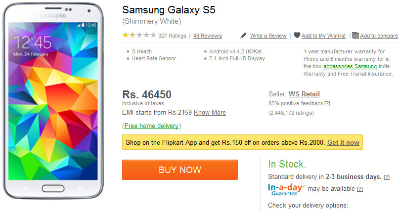 The Samsung Galaxy S5 in white, has its price cut in India - White Samsung Galaxy S5 gets price cut in India