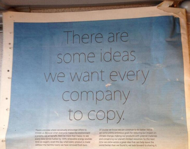 Apple's environmental ad takes a shot at Samsung - Apple takes a poke at Samsung in newspaper ad