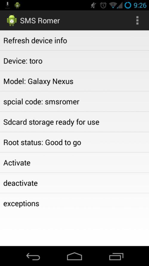 SMS-Romer screenshots