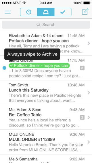 Mailbox for iOS and Android archives your emails automagically