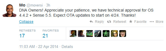 HTC Executive Director says Android 4.4.2 is coming Thursday to the HTC DROID DNA - KitKat coming to the HTC DROID DNA on Thursday
