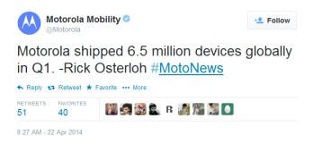 Motorola shipped 6.5 million smartphones in Q1
