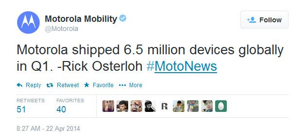 Motorola shipped 6.5 million smartphones in Q1 - Motorola reveals that it shipped 6.5 million smartphones in the first quarter