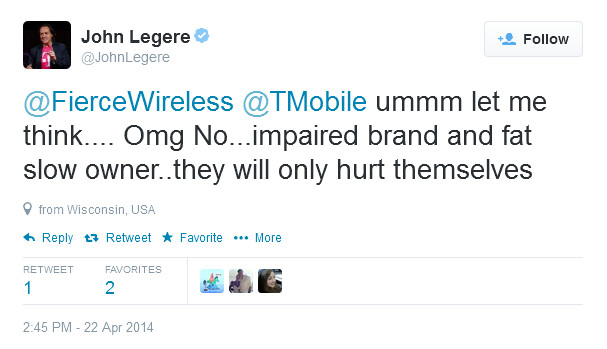 T-Mobile CEO tweets his response to the news that AT&T plans to launch an upgraded Cricket Wireless - New Cricket Wireless to be launched at the end of this quarter by AT&T