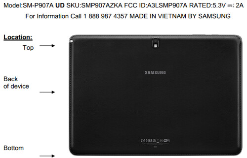 The Galaxy Note Pro matches FCC's diagram perfectly