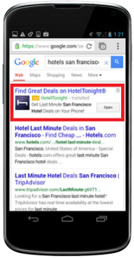 Google's app install ads can be found on its mobile search engine site - Google's new mobile ads know all about you, try to match you up with helpful apps