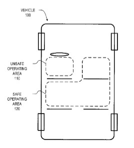 Diagram reveals the area of the car that would be deemed unsafe - Apple patent for the iPhone could end texting while driving